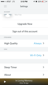 Settings - rdio